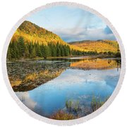 Fall By The Lake Round Beach Towel