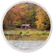 Fall Cabin Round Beach Towel