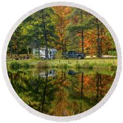 Fall Camping Round Beach Towel