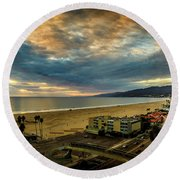 Fall Clouds Over The Bay Round Beach Towel