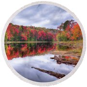 Round Beach Towel featuring the photograph Fall Color At The Pond by David Patterson