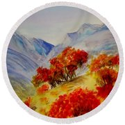 Fall Color Round Beach Towel by Jamie Frier