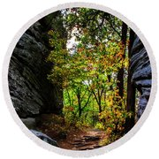 Fall Color Lights Up The Trail Round Beach Towel by Barbara Bowen
