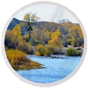 Round Beach Towel featuring the photograph Fall Color On The Yuba  by AJ Schibig