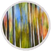 Fall Colors Abstract Round Beach Towel