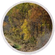 Fall Colors As Oil Round Beach Towel
