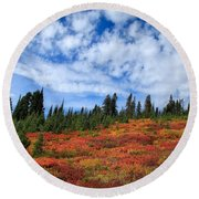 Fall Colors At Mount Rainier Round Beach Towel