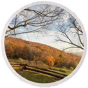 Fall Colors At The Moses Cone Estate Round Beach Towel
