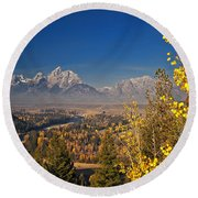 Fall Colors At The Snake River Overlook Round Beach Towel by Sam Antonio Photography