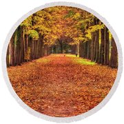 Fall Colors Avenue Round Beach Towel