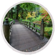 Fall Colors By The Foot Bridge Round Beach Towel