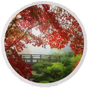 Fall Colors By The Moon Bridge Round Beach Towel