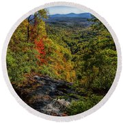 Fall Colors From The Top Of Amicolola Falls Round Beach Towel by Barbara Bowen