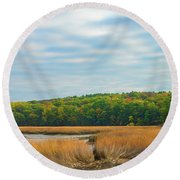 Fall Colors In Edgecomb Round Beach Towel