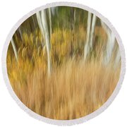 Fall Colors In Motion Round Beach Towel