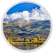 Fall Colors In Steamboat With A Lake. Round Beach Towel