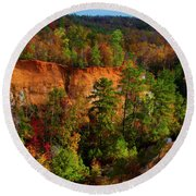 Fall Colors In The Canyon Round Beach Towel by Barbara Bowen