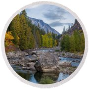 Fall Colors In The Canyon Round Beach Towel