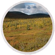 Fall Colors In Tundra Round Beach Towel