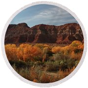 Fall Colors Near Zion Round Beach Towel
