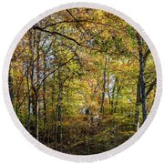 Round Beach Towel featuring the photograph Fall Colors Of Rock Creek Park by Ed Clark