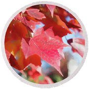 Fall Colors Oil Round Beach Towel