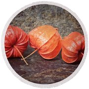 Fall Colors With The Winter Cherries Round Beach Towel by Karen Stahlros
