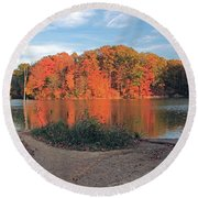 Fall Day At The Creek Round Beach Towel