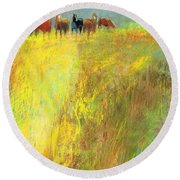 Fall Day On The Mesa Round Beach Towel by Frances Marino