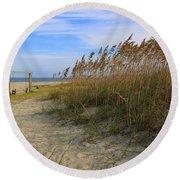Fall Day On Tybee Island Round Beach Towel