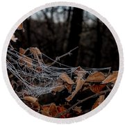 Round Beach Towel featuring the photograph Fall Decorations by Annette Berglund