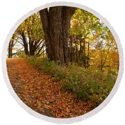 Fall Driveway Round Beach Towel