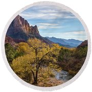 Fall Evening At Zion Round Beach Towel