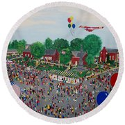 Round Beach Towel featuring the painting Fall Fair by Virginia Coyle