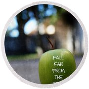 Fall Far From The Tree- Art By Linda Woods Round Beach Towel