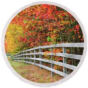 Fall Fence Round Beach Towel