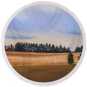 Fall Fields Of The Shenandoah Round Beach Towel by Kevin Blackburn