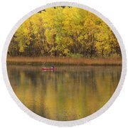 Fall Fishing Round Beach Towel