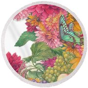 Fall Florals With Illustrated Butterfly Round Beach Towel