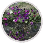 Round Beach Towel featuring the photograph Fall Flower Box by Joanne Coyle