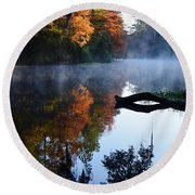 Fall Fog Round Beach Towel