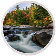 Fall Foliage Along Swift River In White Mountains New Hampshire  Round Beach Towel