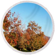 Fall Foliage And Mountains Round Beach Towel