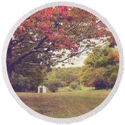 Fall Foliage And Old New England Shed Round Beach Towel by Edward Fielding
