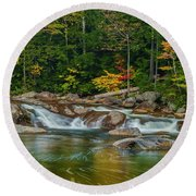 Fall Foliage In Autumn Along Swift River In New Hampshire Round Beach Towel