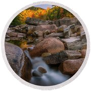 Fall Foliage In New Hampshire Swift River Round Beach Towel