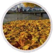 Fall Foliage In Portland Oregon City Round Beach Towel