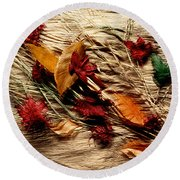 Fall Foliage Still Life Round Beach Towel