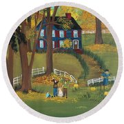 Round Beach Towel featuring the painting Fall Foliage by Virginia Coyle