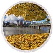Fall Foliage With Portland Oregon City Round Beach Towel